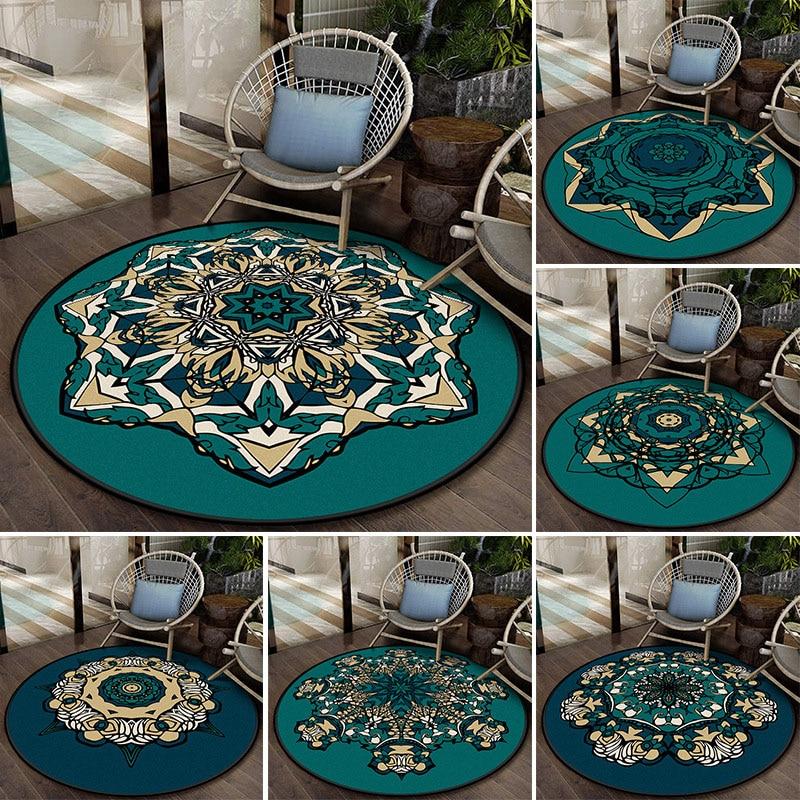 Round Carpet for Living Room Modern Mediterranean Bedroom Floor Mat Anti Slip Ethnic Style Mandala Rugs Home Decor 100cm/120cm Carpet  - AliExpress