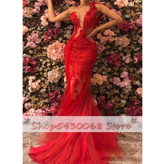 2021 Red Sheer See Through Backless Mermaid Prom Dresses Plus Size Lace Tulle One Shoulder Evening Gowns Sexy robe de soiree 5