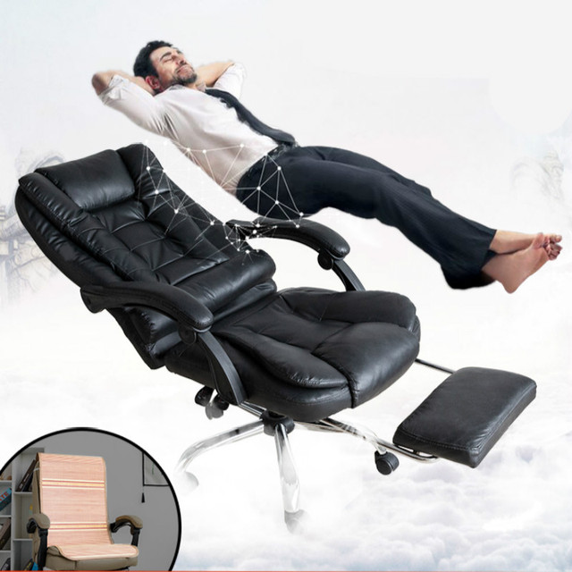 Genuine Leather Computer Chair Household Leather Office Chair PU Swivel Lift Gaming Chair 1