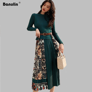 Banulin 2020 New Spring Elegant Knitted Patchwork Pleated Midi Dress Women Long Sleeve Retro Runway Printing chic Dresses banulin summer runway designer bow neck pleated dress women lace patchwork floral print elegant holiday midi dress vestidos