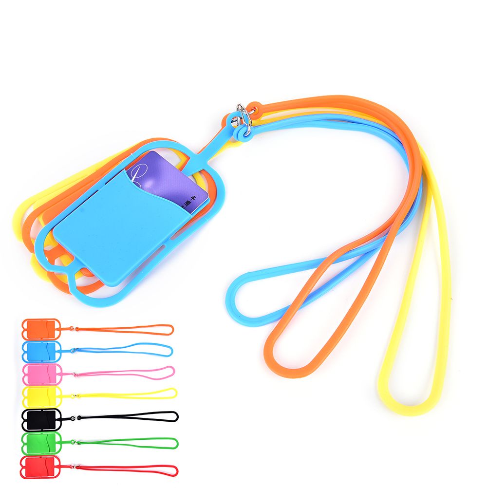 1PCS Silicone Cell Phone Wallet Case Credit ID Card Bag Holder Pocket With Lanyard