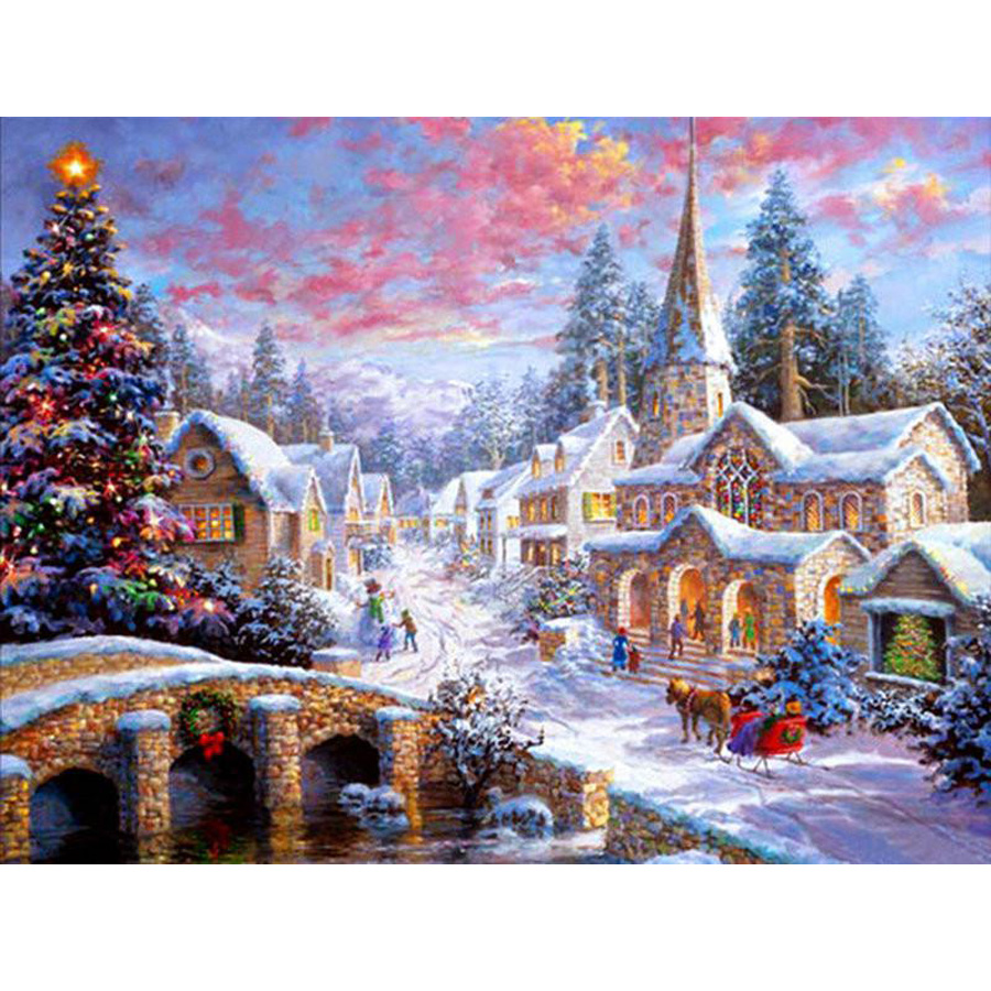 Christmas Diamond Painting Stitch Cross Embroidery Full Round Square Drill Craft