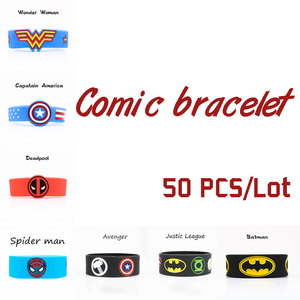 50 PCS/Lot comic Silicone Bracelets Captain Wonder Woman Band Deadpool Justice Avenger League Batman wholesale Wristband gift(China)