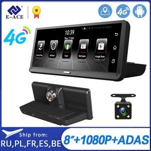 Image 1 - E ACE E14 voiture DVRs 4G Android 8.0 pouces Dash Cam 1080P enregistreur vidéo GPS Navigation ADAS Dashcam avec caméra de vue arrière Dvr automatique
