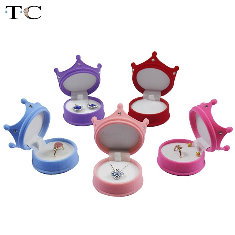 Fashion Wedding Ring Gift Box Princess Crown Shaped Jewelry Box Cosmetic Cases Earrings Pendant Storage Boxes 5 Color