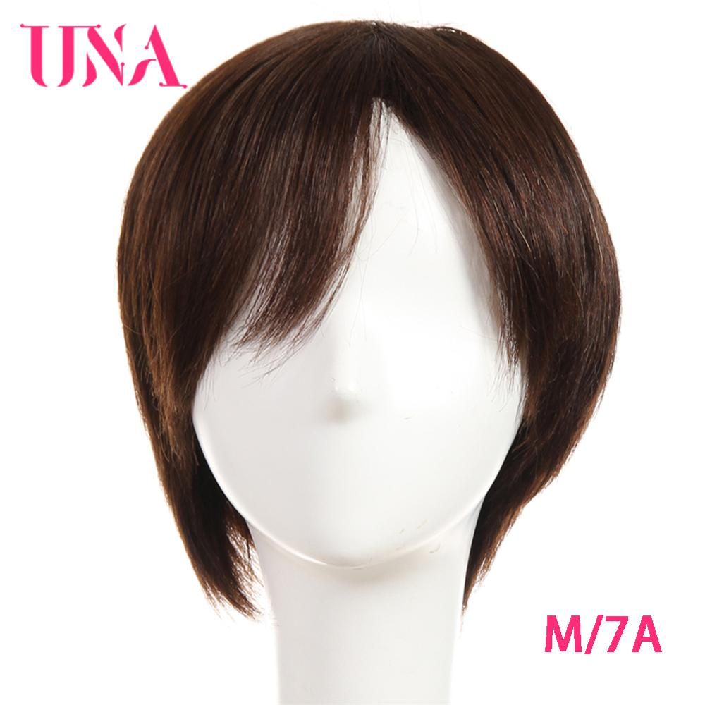 UNA Short Human Hair Wigs For Women Non-Remy Indian Human Hair Wigs 7A Middle Ratio 120% Density 6 Inches 75g 11 Colors