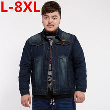 new classic denim jacket men brand clothing 100% cotton casual men jean jacket dark blue solid coat male plus size 8XL 7XL 6XL(China)