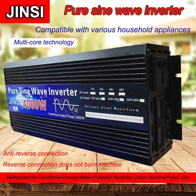 Чистый синусоидальный инвертор 12 В/24 В 220 в 3000 Вт 4000 Вт трансформатор напряжения солнечный силовой инвертор DC12V в AC 220 В светодиодный преобраз...