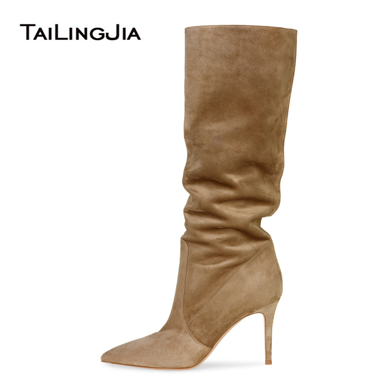 suede slouch knee high boots