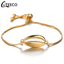 CUTEECO Gold Silver Color Fashion Alloy Shell Charm Bracelets Bangles for Women New Adjustable Size Jewelry