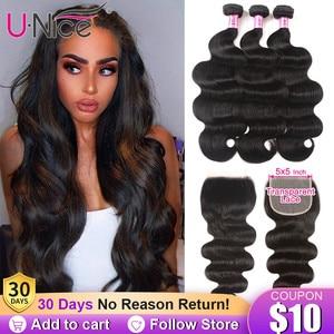UNICE Hair 5X5 Transparent Lace Closure With Body Wave 3 Bundles Brazilian Human Hair 8-30 Inch Weaves 100% Human Hair Bundles(China)