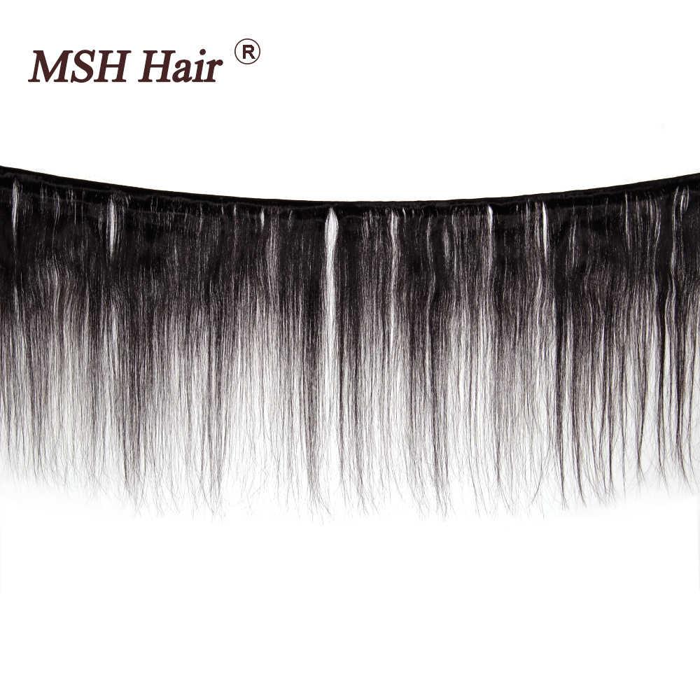 MSH Haar Peruaanse Steil Haar Kant Frontale Met Bundels 100% Human Hair Bundel Met Frontale Medium Verhouding Non-Remy