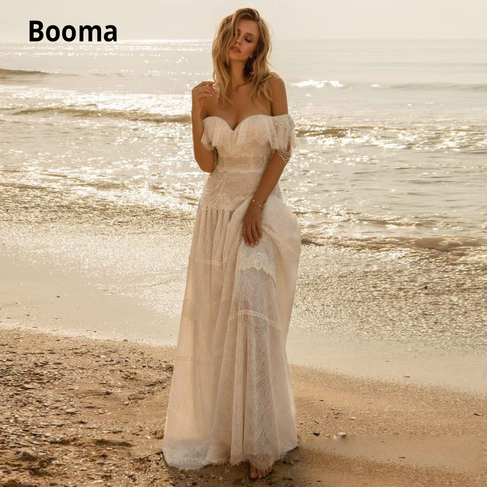 Booma 2020 Bohemian Full Lace Wedding Dresses Off The Shoulder Ruffles A Line Bridal Gowns Beach Boho Robes De Mariée Plus Size