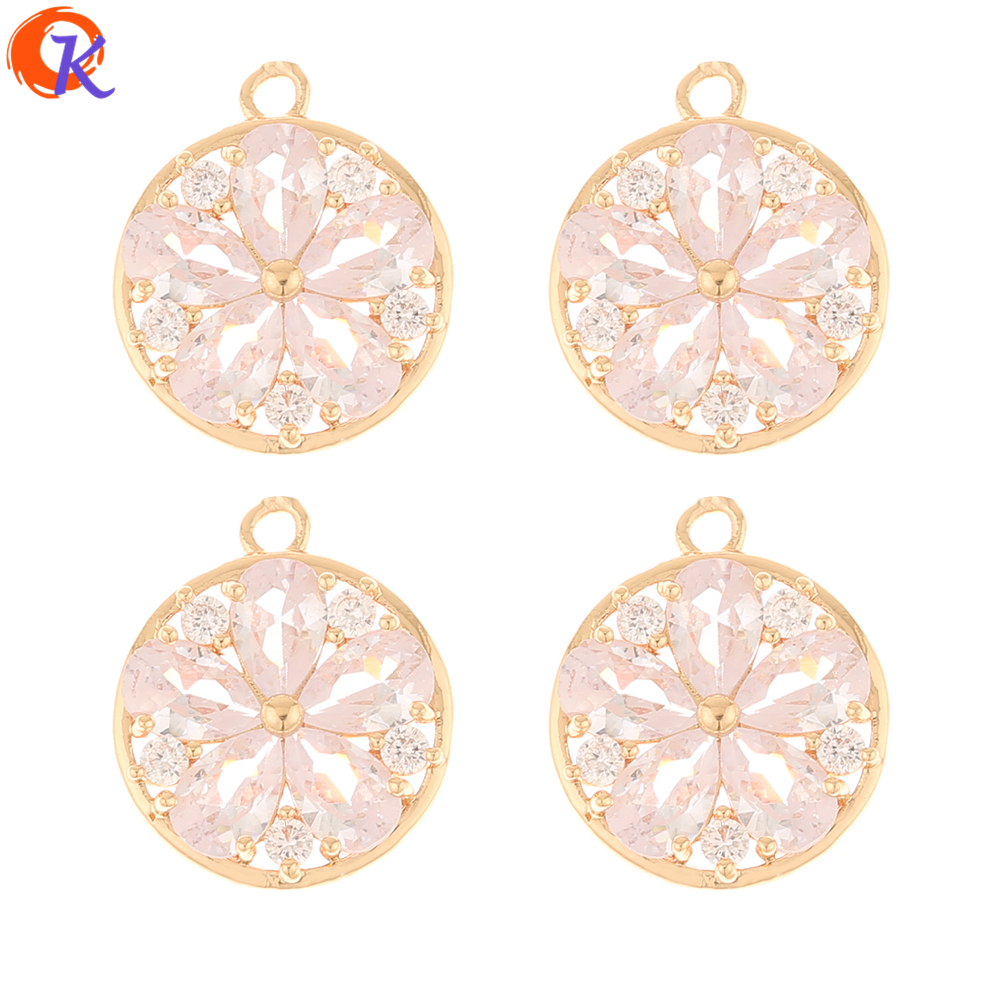 Cordial Design 40Pcs 14*17MM Jewelry Accessories/DIY Earrings Making/Pendant/Round Shape/Earring Findings/Hand Made/CZ Charms