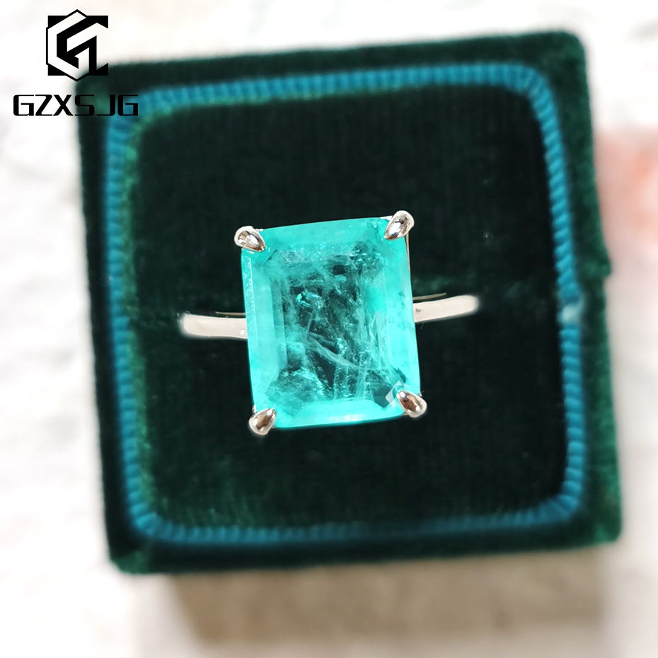 GZXSJG Paraiba Tourmaline Gemstones Ring for Women Solid 925 Sterling Silver 10x12 Emerald cutting stone for engagement Fine