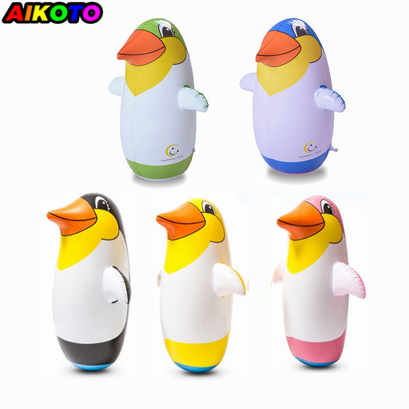 1piece Outdoor Fun Sports Random Color 22&36&45&70cm Inflatable Penguin Toy Soft Plastic Tumbler Inflatable Penguin For Children