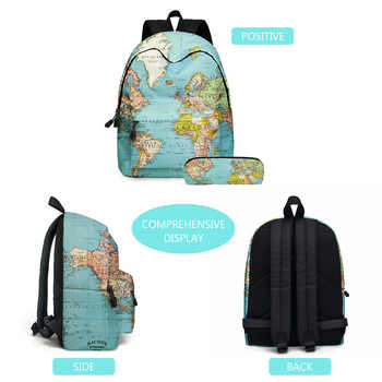 2020 new backpack Europe and America map two-piece elementary school bag children\'s school bag pen bag