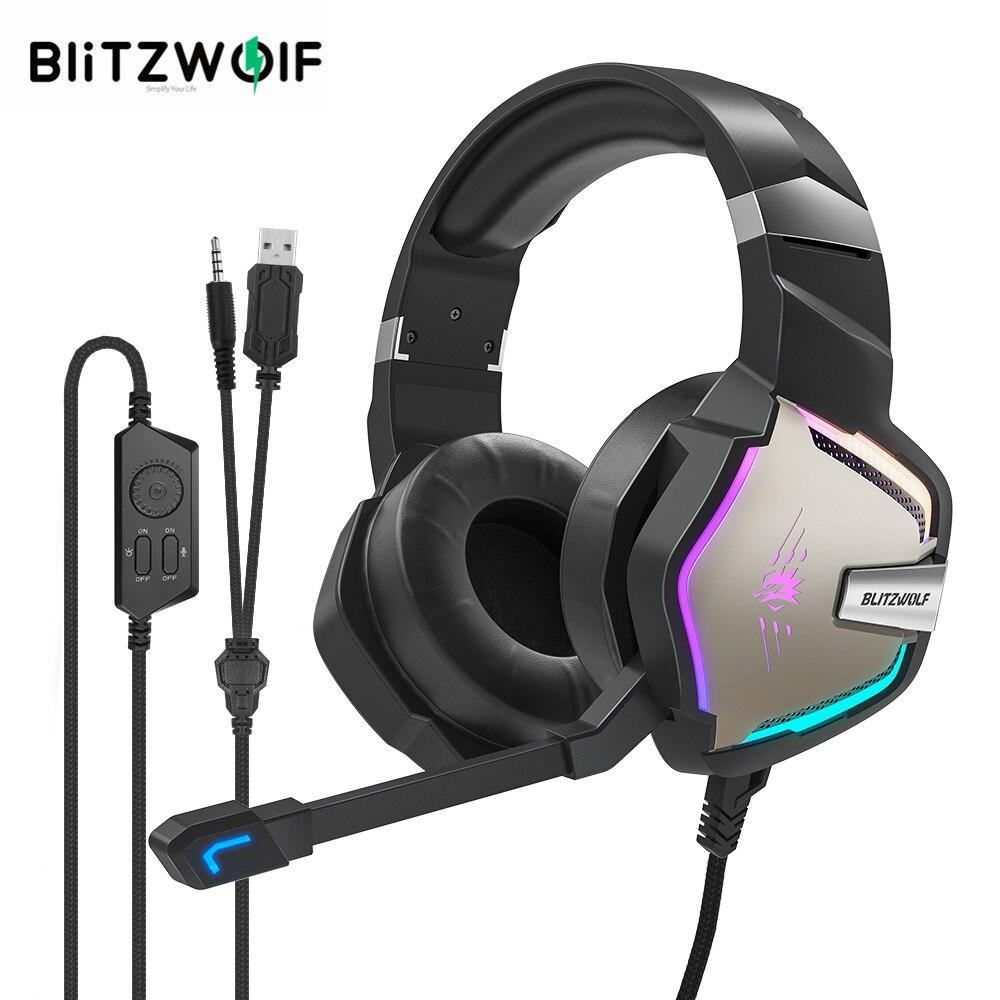 BlitzWolf BW-GH1 Pro Gaming Headset 7.1/5.1 Virtual Surround Sound Gaming Fones de ouvido para PS4 /PS3 forXBOX RGB LED Light PC Gamer 2.2M Com Fio Earphone com controle de microfone Volum 50mm Alto-falante
