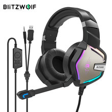 BlitzWolf BW-GH1 Pro Gaming Headset 7.1/5.1 Virtual Surround Sound Gaming Headphones voor PS4 /PS3 forXBOX RGB LED Light PC Gamer 2.2M Bedrade oortelefoon met microfoon Volum Control 50mm luidsprekerdiameter