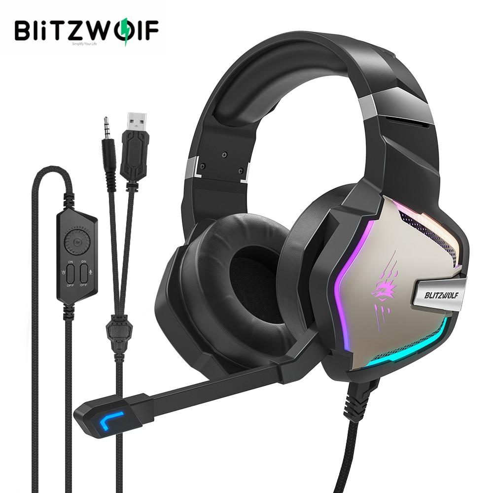 Słuchawki do gier BlitzWolf BW-GH1 Pro 7.1/5.1 Virtual Surround Sound Gaming Headphones for PS4 /PS3 forXBOX RGB LED Light PC Gamer 2.2M Przewodowa słuchawka z mikrofonem Volum Control 50mm O średnicy głośnika