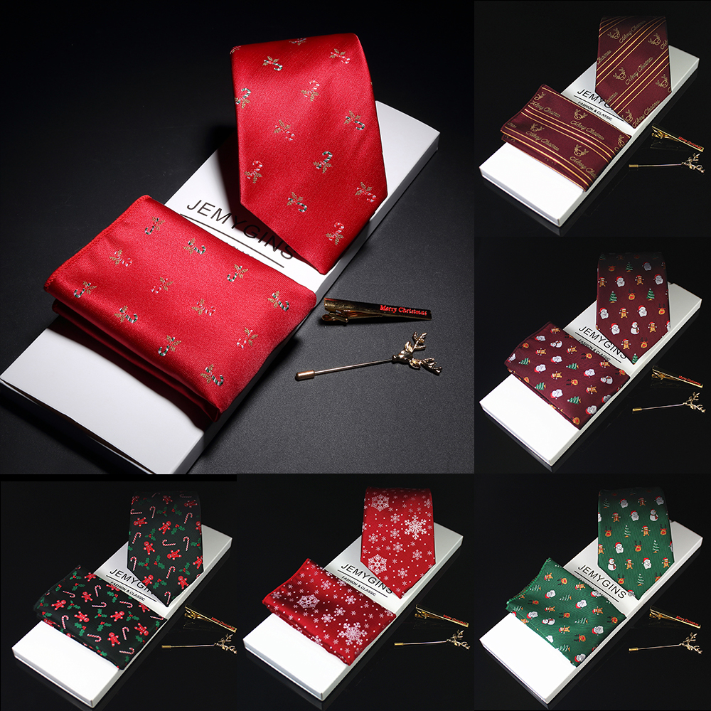 JEMYGINS Design 8cm Christmas Tie Silk Handkerchief Brooch Set Jacquard Woven Men Classic Necktie Party Wedding Christmas Gift