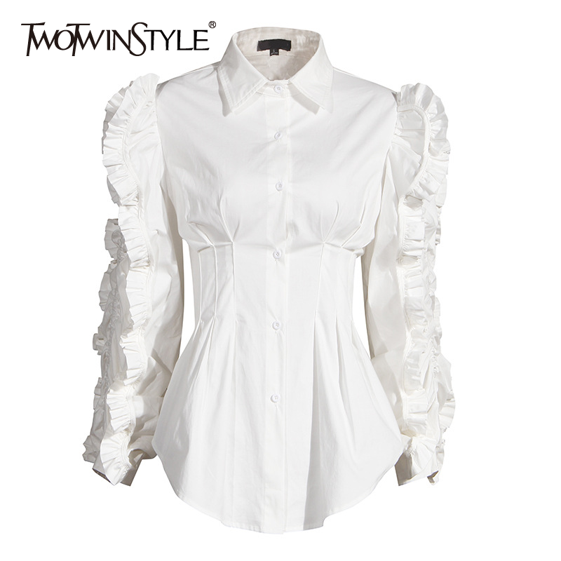 TWOTWINSTYLE Patchwork Ruffle Black Shirt For Women Lapel Long Sleeve High Waist Tunic Casual Blouse Female Fashion 2020 Fall