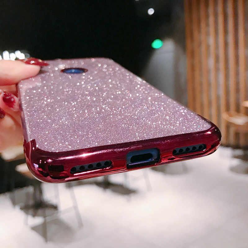 Case de silicone com glitter, capinha macia para xiaomi 8 9 se redmi 4x 5 7 k20 plus 6a 7a note 4 versão global 5a prime 6 7 pro