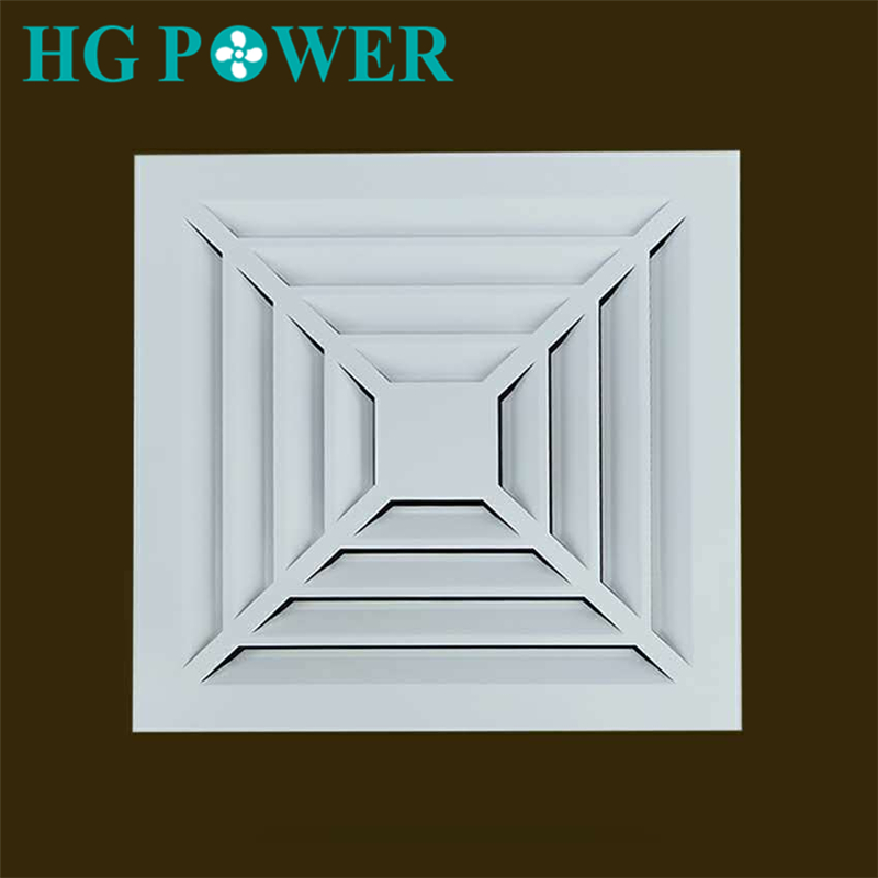 High Quality Aluminum Alloy Square ABS Register Diffuser Grille Air Vent Extractor Outlet Duct Fan Ceiling Air Blower Adapter