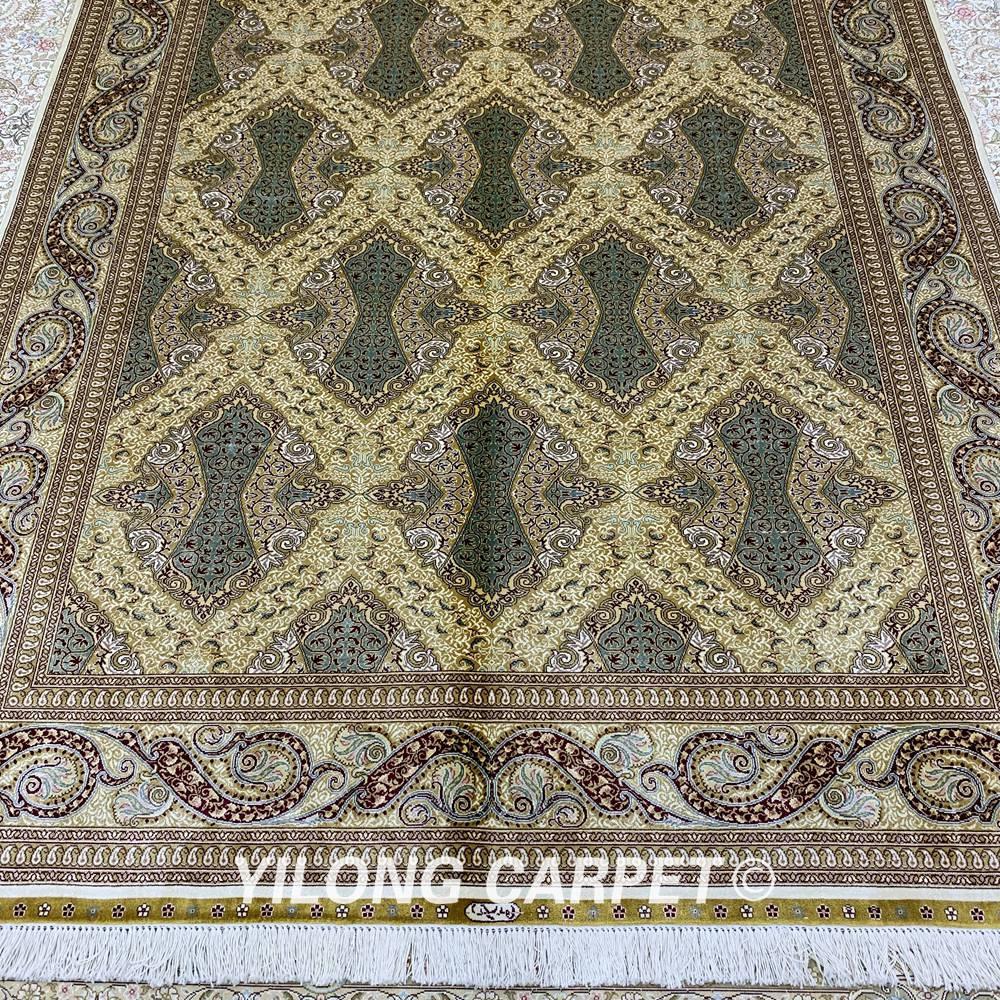 Yilong 5,5'x8 'persisk gulvtæppet rektangelgrønt tyrkisk - Hjem tekstil - Foto 2