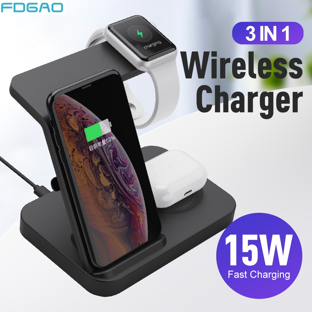 3 in1 15W Qi Wireless Charger Dock Station for iphone 11 XS XR X 8 Fast Wireless Charging Stand For Apple Watch 5 4 Airpods Pro