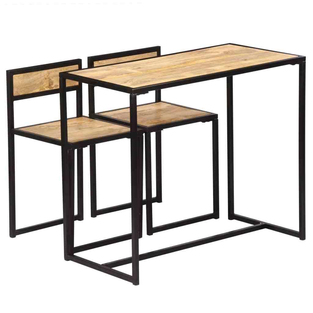 Juego de comedor de 3 piezas de estilo Vintage, juego de mesa de comedor de  madera de Mango sólido con 2 sillas, muebles de comedor, cocina muebles