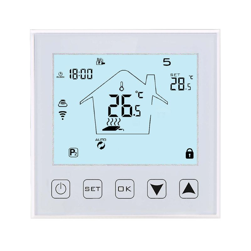 Wifi Programmable Touch Screen Thermostat For Floor Electric System Temperature Controller With Remote Control And Voice Control