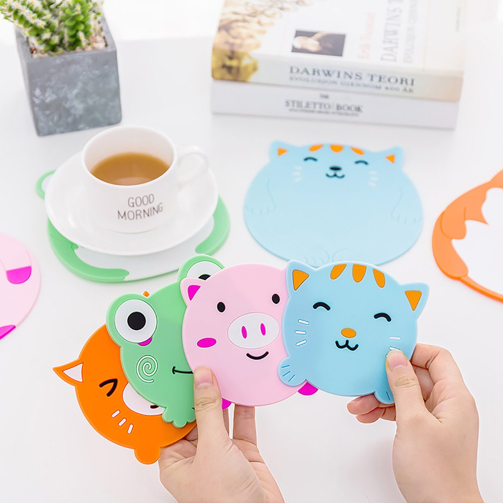 1PC Silicone Coaster Insulation Mat Hot Sale Creative Cute Cartoon Cup Mat Free Shipping Cute Anime Silicone Coffee Mat