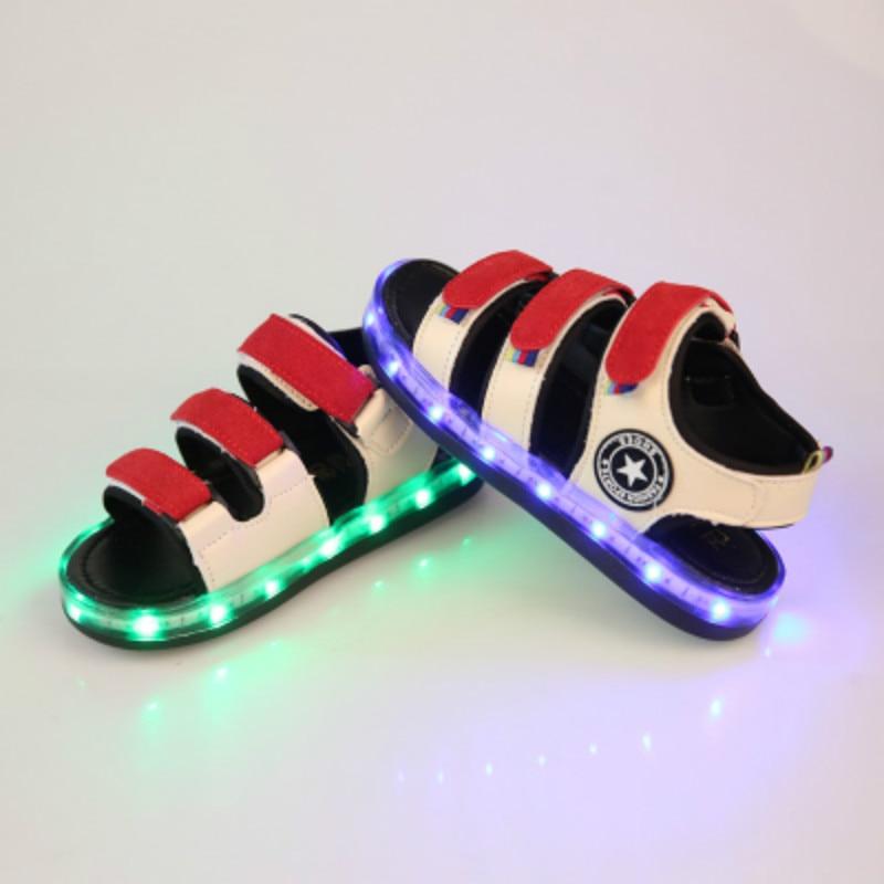 USB Charging Shoes Girls Sports Sandals Kids Led Shoes Boys Led Luminous Baby Light Summer Flip Flops Children Toddler Sandals
