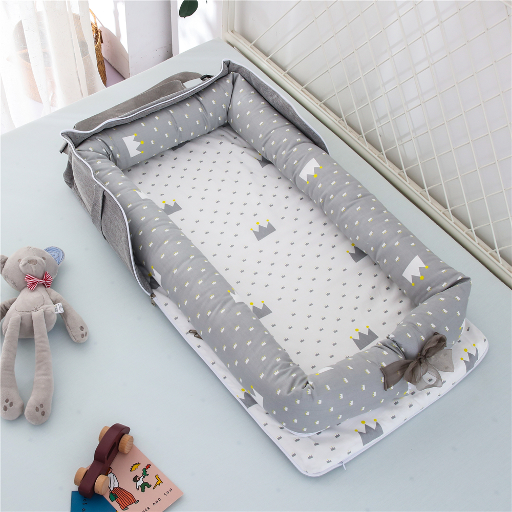 85*45cm Portable Baby Nest Bed Crib Mat For Boys Girls Travel Bed Infant Cotton Pillow Cushion Newborn Baby Nest Bed