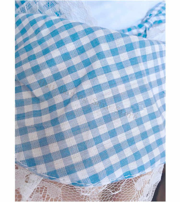 Giapponese Carino Blu Bianco Plaid Cameriera Grembiule Set Dell'arco Del Merletto Delle Donne Della Biancheria Anime Costume Cosplay Francese Camera Servo Lolita Uniforme