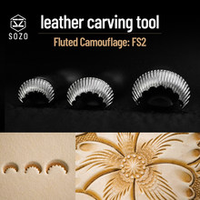 SOZO FS2 Leather Work Stamping Tool Flower Centers Fluted Camouflage Sheridan Saddle Make Carving 304 Stainless Streel Stamps