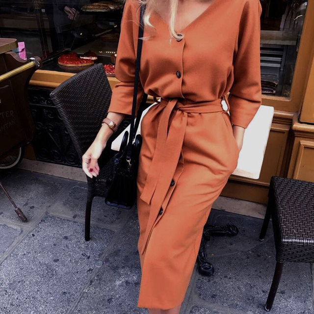 Women Vintage Back Button Sashes A-line Party Dress Long Sleeve Sexy V necK Solid Casual Elegant Mid Dress 2019 Winter New Dress 6