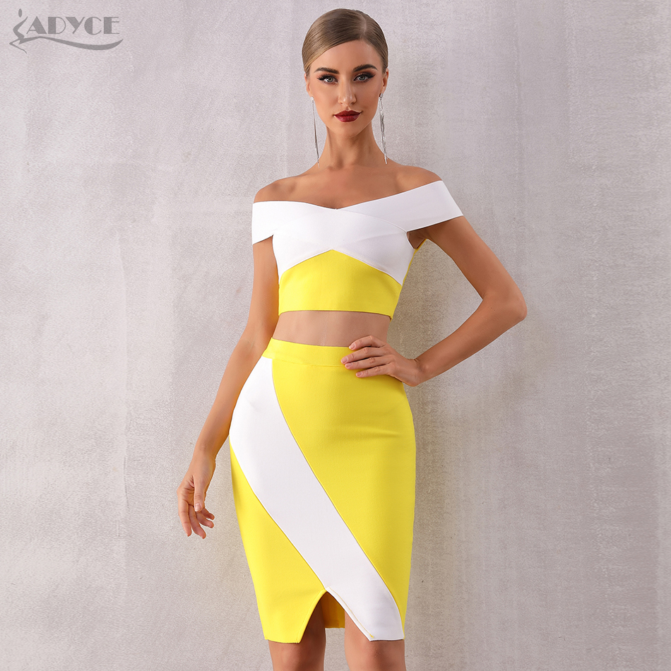 ADYCE 2019 New Summer Bodycon Women Bandage Set Dress Two 2 Pieces Set Top&Skirts Off Shoulder Vestidos Evening Party Club Dress
