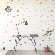 цена на Creative Gold Heart Wall Decals For Home Decor Living Room Bedroom Vinyl Wall Stickers Diy Wallpaper Wedding Decoration Art