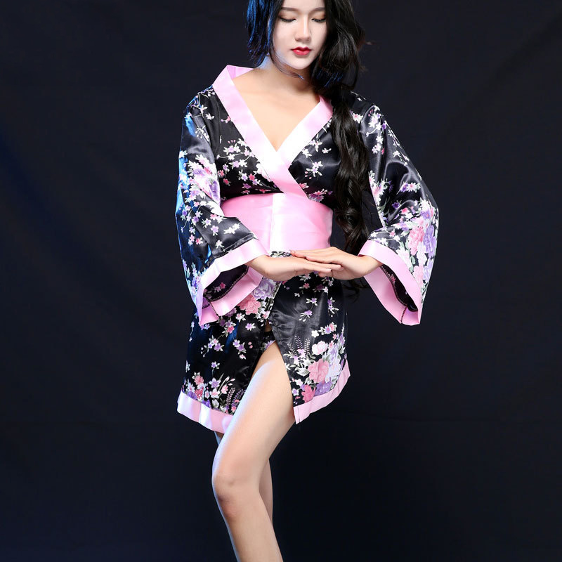 Woman Japanese Kimono Style Sleepwear V-neck Sexy Costumes Yukata Dress Geisha Girls Short Loose Nightgown Bathing Robe Gown