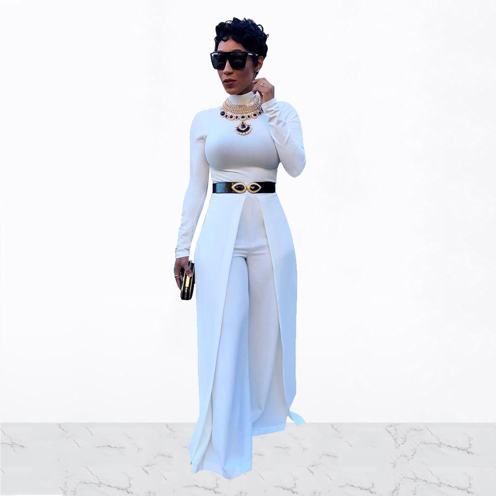 Women Loose Party Jumpsuits Autumn Solid Turtle Neck Long Sleeve Wide Leg Pants Rompers Elegant Office Lady Plus Size Overalls