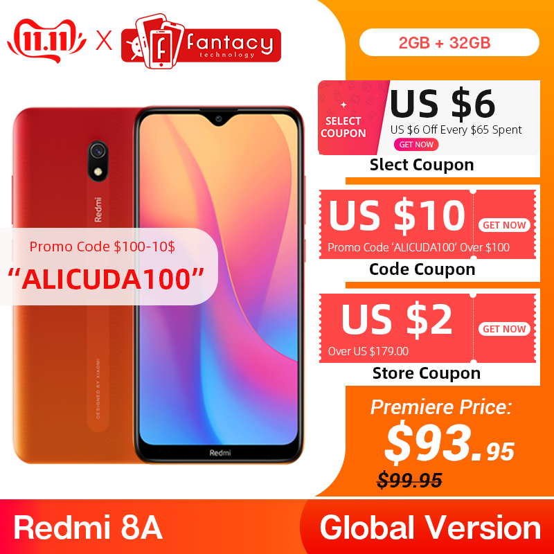 "Global Version Xiaomi Redmi 8A 8 A 2GB 32GB 6.22"" Snapdargon 439 Octa Core Mobile Phone 5000mAh 12MP Camera Smartphone"