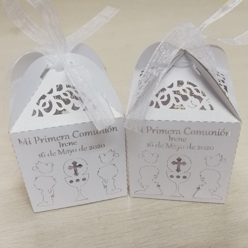 50 Pieces Personalized First Holy Communion Candy Box Custom Name Date Mi Primera Comunión Candy Box For Kids Communion Party