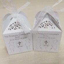 Caixa de doces comando primeira comunhão 50 peças, personalizado nome personalizado mi primeira data comunião caixa de doces para crianças festa comunião