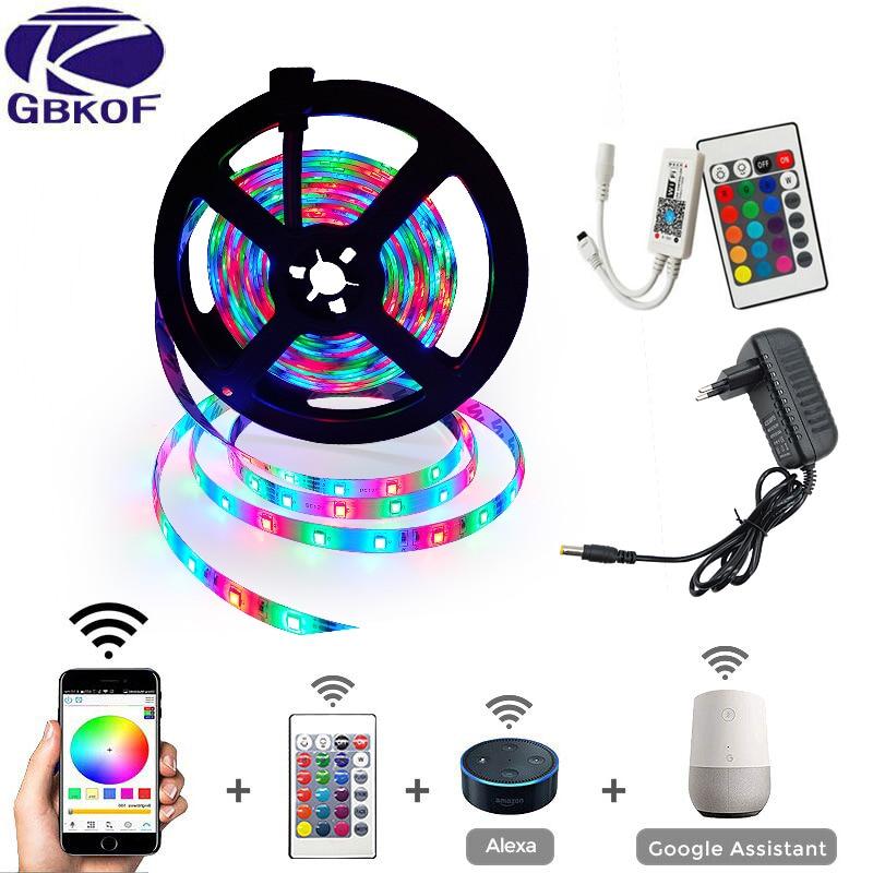 LED Strip Light RGB SMD 2835 Flexible Ribbon Fita Led Light Strip RGB 5M 10M 15M Tape Diode DC12V 60LEDs 1M+Control+Adapter
