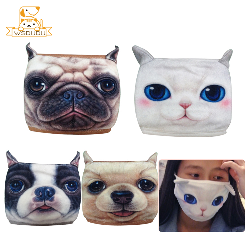 Kawaii Dogs Cat Mask Bulldog Husky Golden Sharpei Cute Puppy Kitten Animal Plush Stuffed Toys Anti Dust Face Cover Winter Gifts