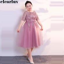 Sweet Prom Gown Tea Length Vestidos De Gala T347 2019 Plus Size Embroidery Dress Women Party Night O-Neck Half Sleeve Prom Dress v neck half sleeve tea length dress