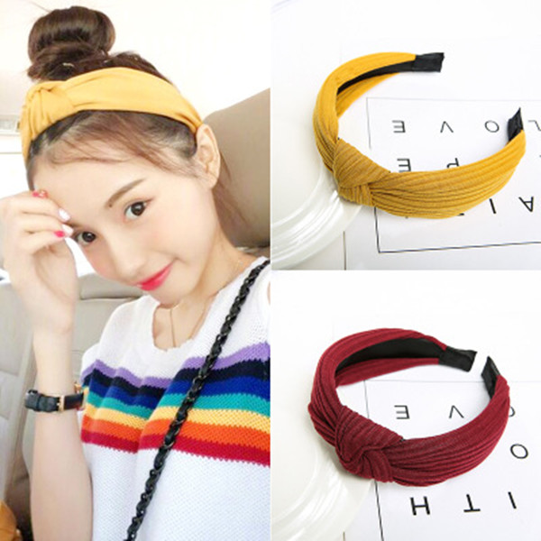 Knot Cross Tie Solid 1 Pcs Fashion Hair Band Hairband Knitted Rib Girls Bow Hoop Hair Accessories Velvet Twist Headband