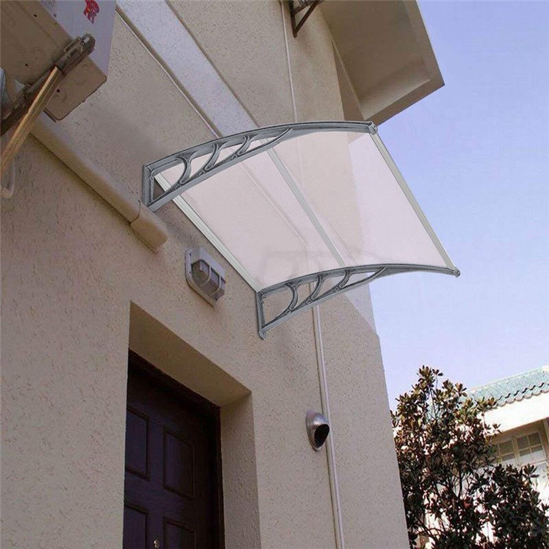100x80cm Door Window Awning Domestic Eaves Canopy Strong Durable Polycarbonate Rain Cover Front Door Sun Shelter